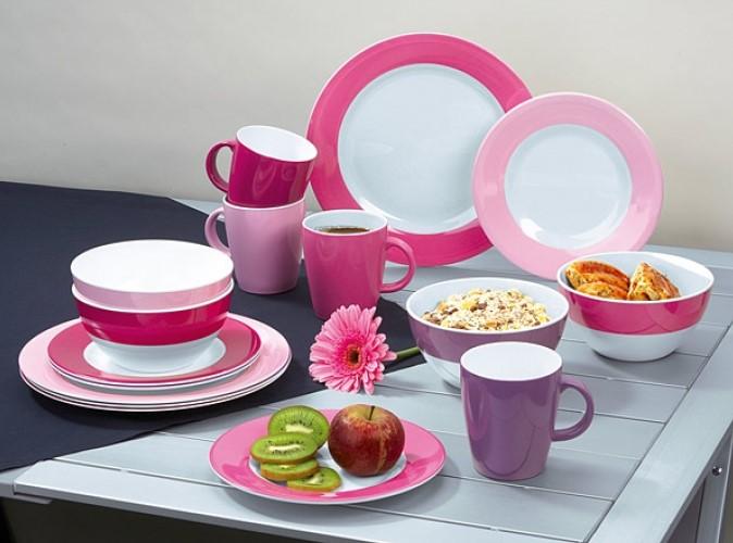 zastawa stołowa z melaminy, różowe naczynia, fioletowe naczynia