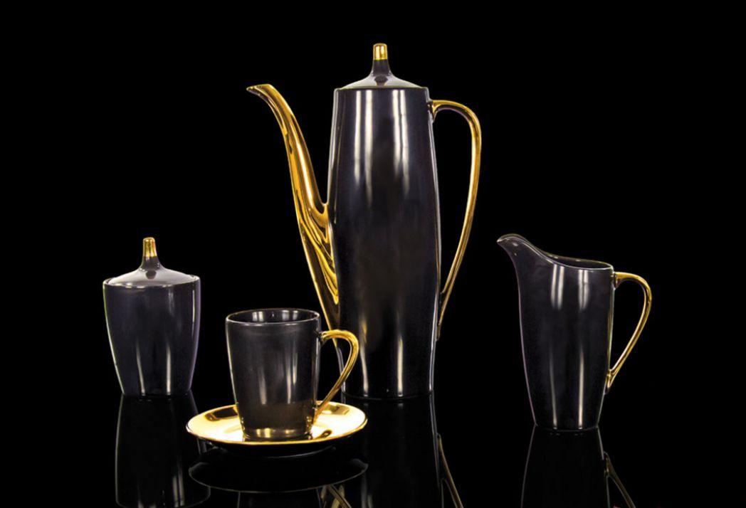 czarny i złoty, blask nocy, czarna porcelana, czarny serwis do kawy, garnitur do kawy